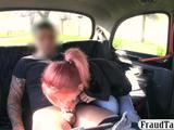 Small tits redhead passenger banged in the backseat