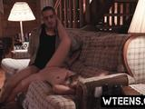 Blonde teen babe Goldie Rush bonded in the forest house and slammed hard