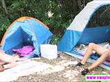 Two pretty teen babes amazing foursome sex in the camp