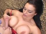 Busty slut tongues and humps eager hard-on