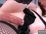 Sexy tranny Natalie Mars masturbates ass with a dildo