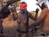 Slavish African babe sucks two hard dicks and gets body abused