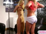 Personal trainer massages young blondie sweet pussy